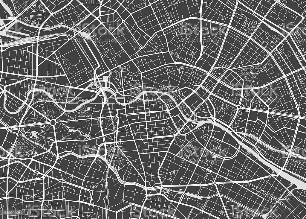 Vector detailed map Berlin vector art illustration