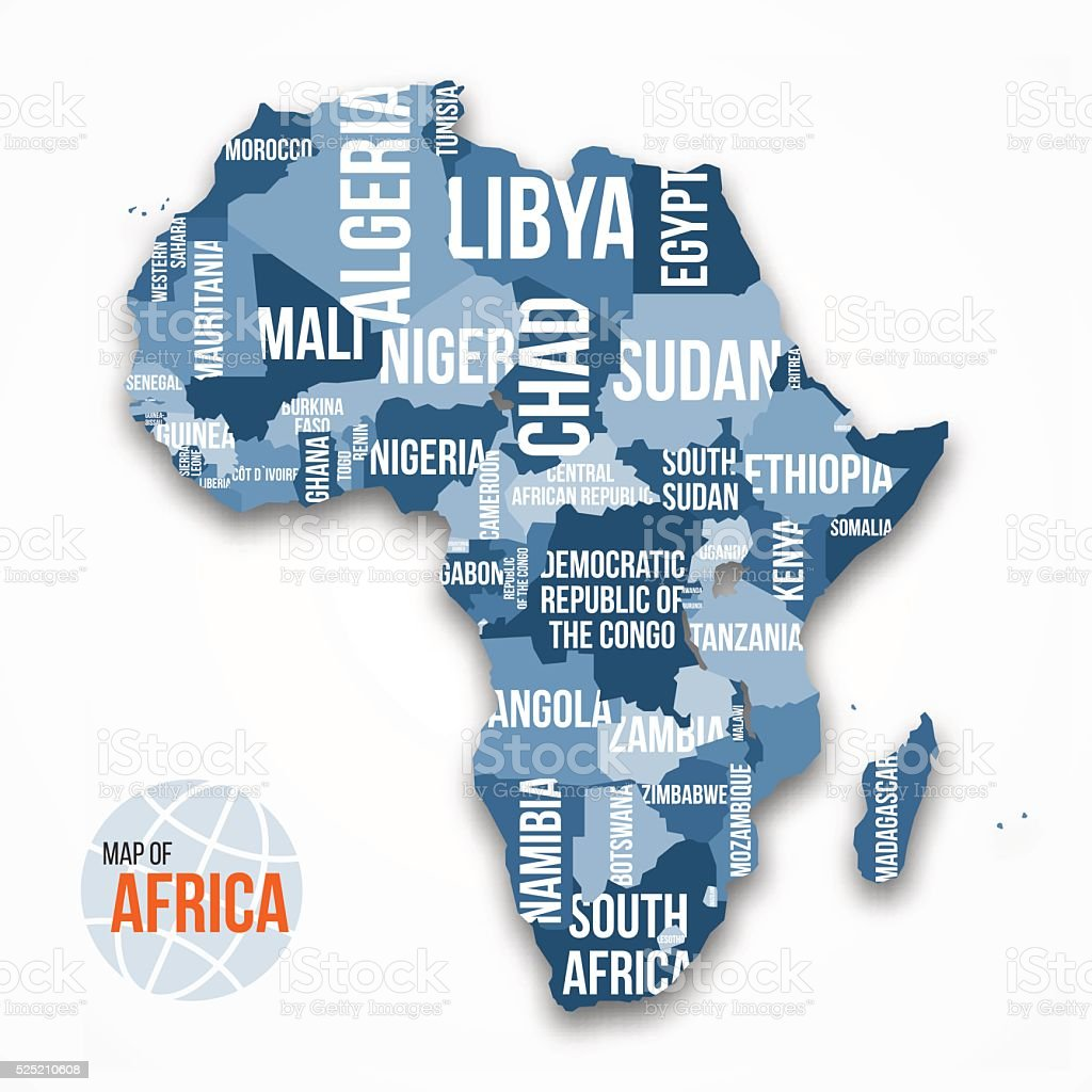 Vector detailed map of Africa with borders and country names. vector art illustration