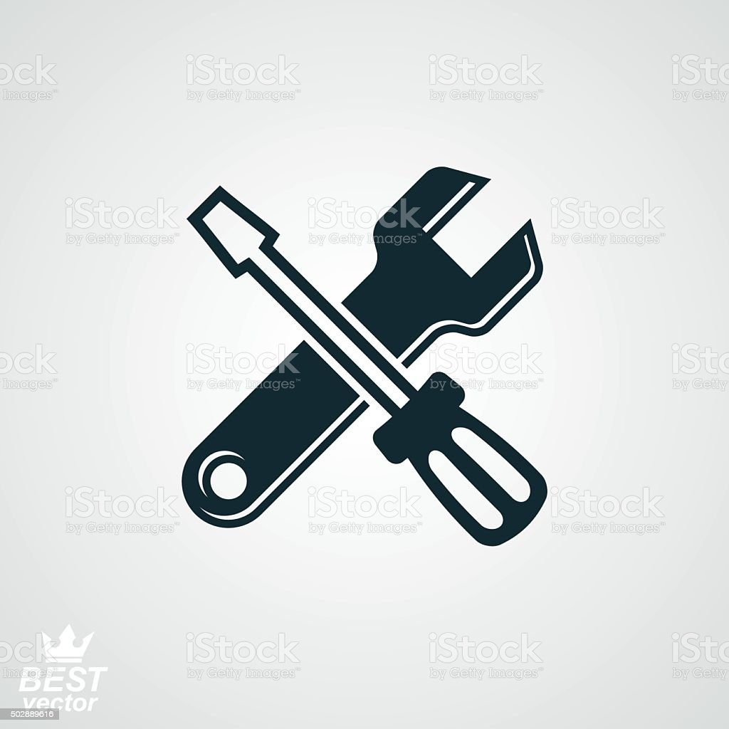 Vector detailed repair tool, Screwdriver and wrench crossed. vector art illustration