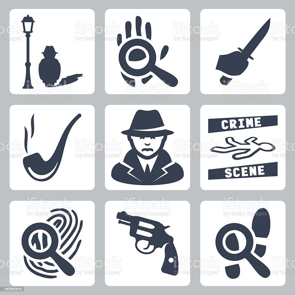 Vector detective icons set vector art illustration