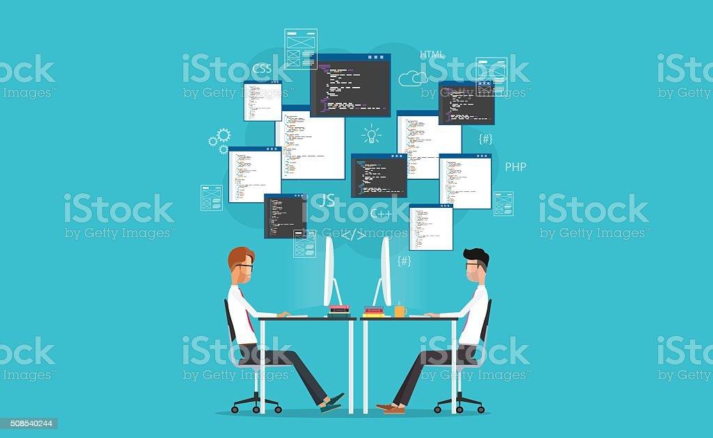 vector developer working on workplace. develop for website and application vector art illustration
