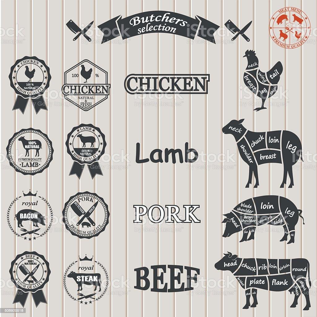 vector diagram cut carcasses of chicken, pig, cow, lamb. vector art illustration