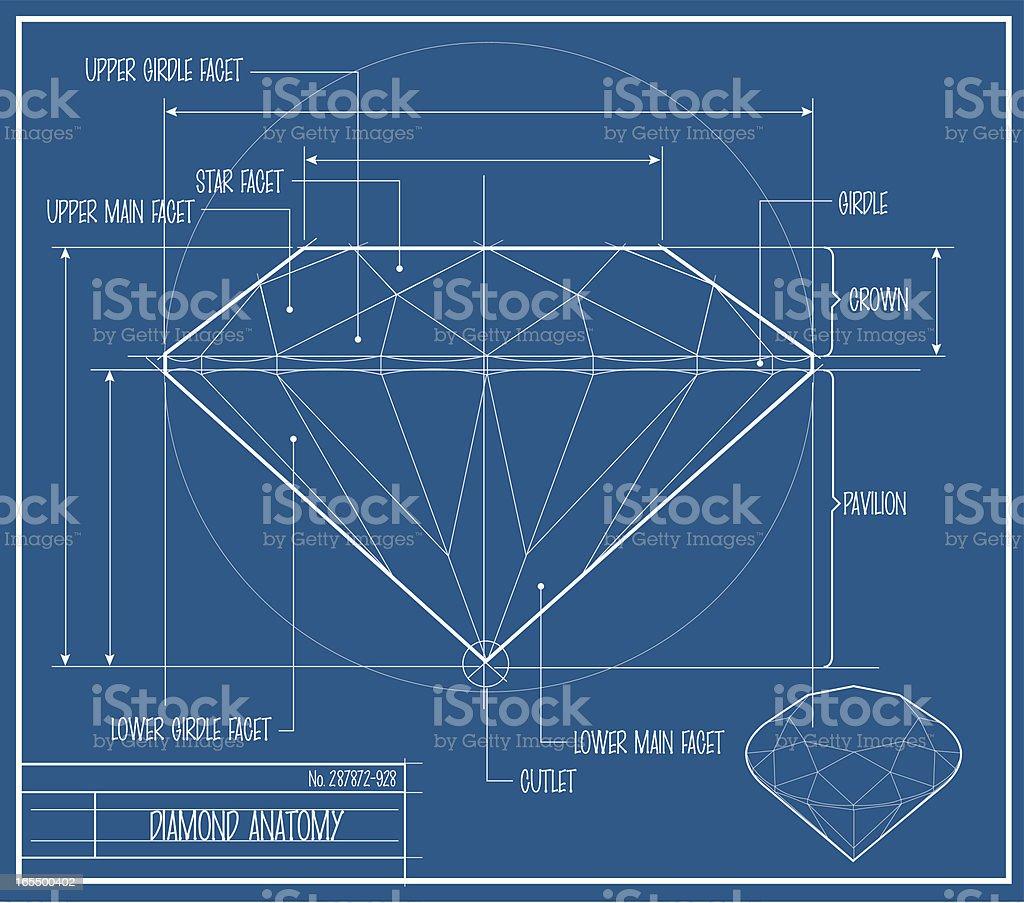 Vector Diamond Blueprint royalty-free stock vector art