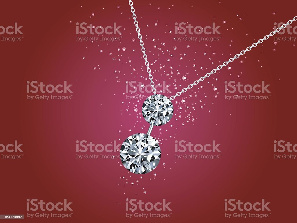 Vector diamond necklace on a red background with sparkles royalty-free stock vector art