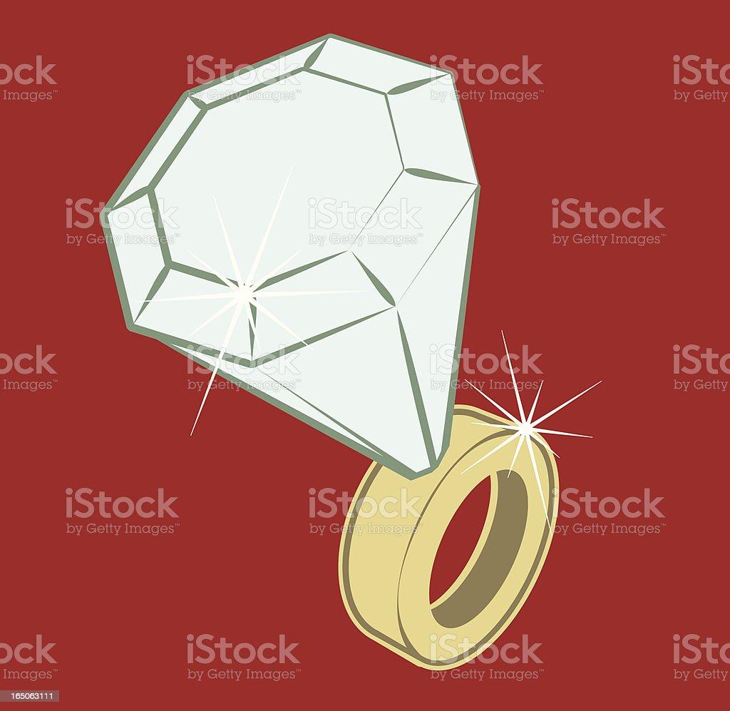 Vector diamond ring vector art illustration