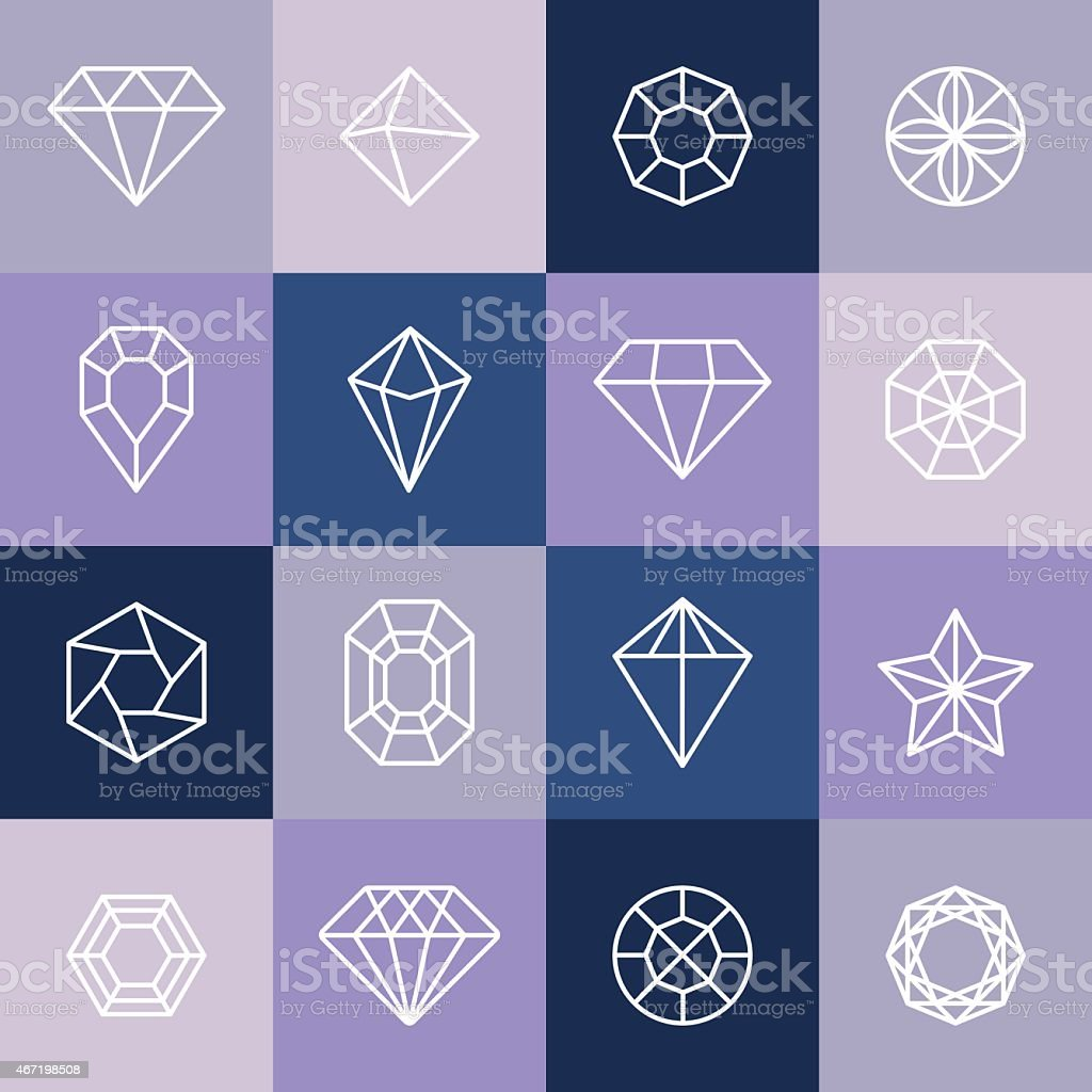 Vector diamonds and gems vector art illustration