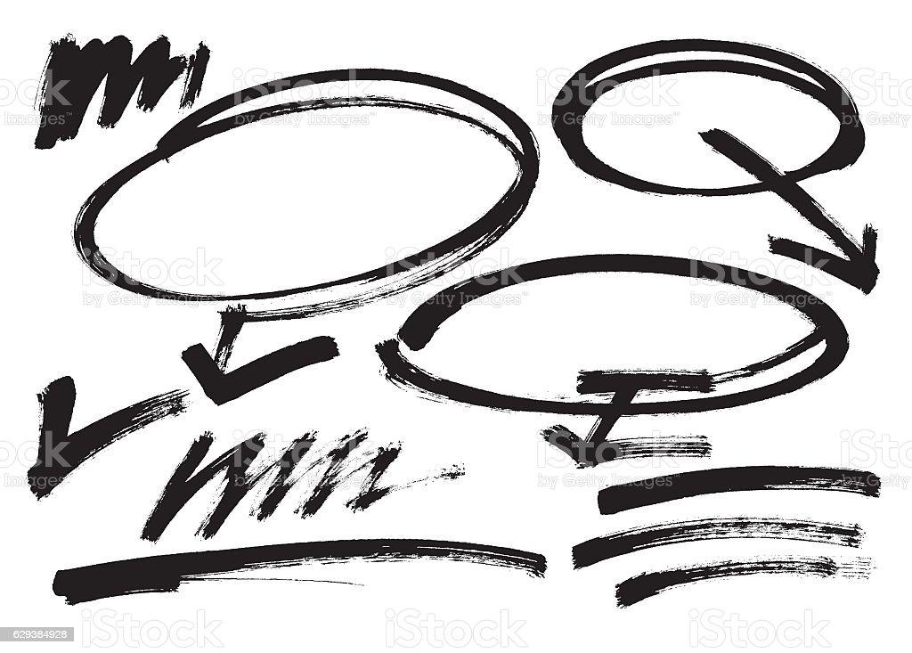 Vector. Different grunge brush strokes black color vector elements. set vector art illustration