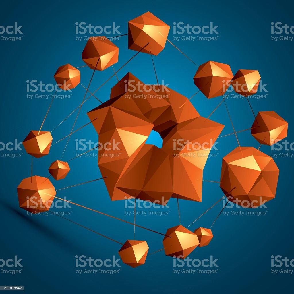 Vector digital 3d abstraction, geometric polygonal element. vector art illustration