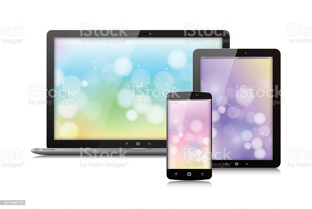 Vector Digital Tablet ,laptop and smart phone isolated on white vector art illustration