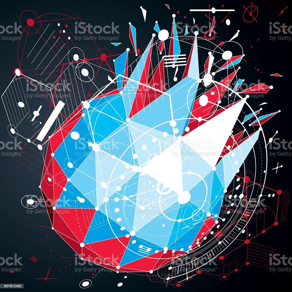 Vector digital technology background, geometric low poly deign elements vector art illustration