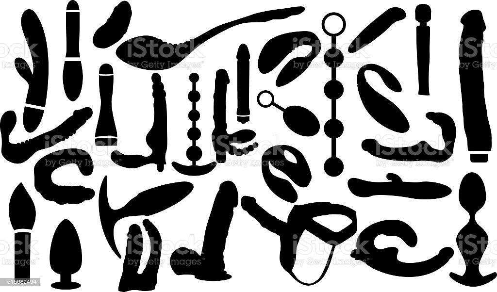 Vector dildo, adult sex toys silhouettes vector art illustration