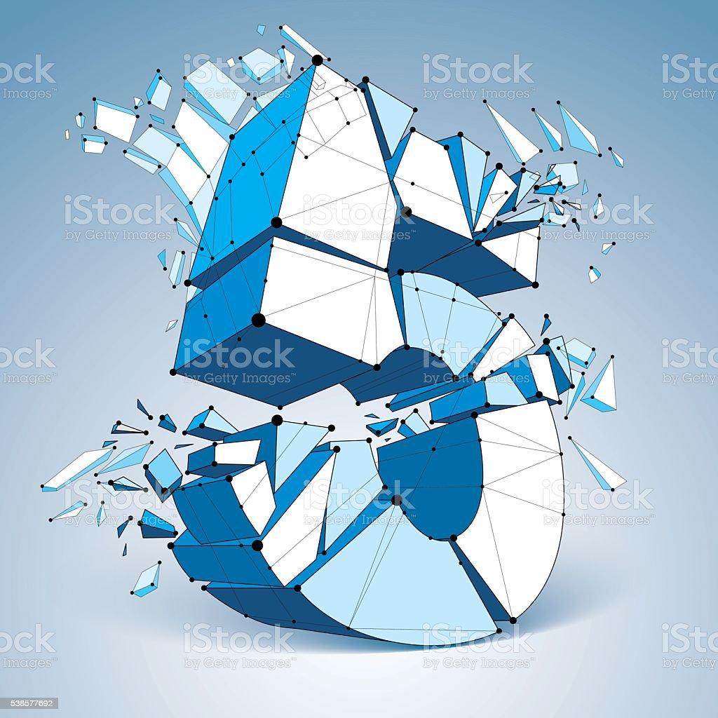 Vector dimensional wireframe number 5, blue demolished digit vector art illustration