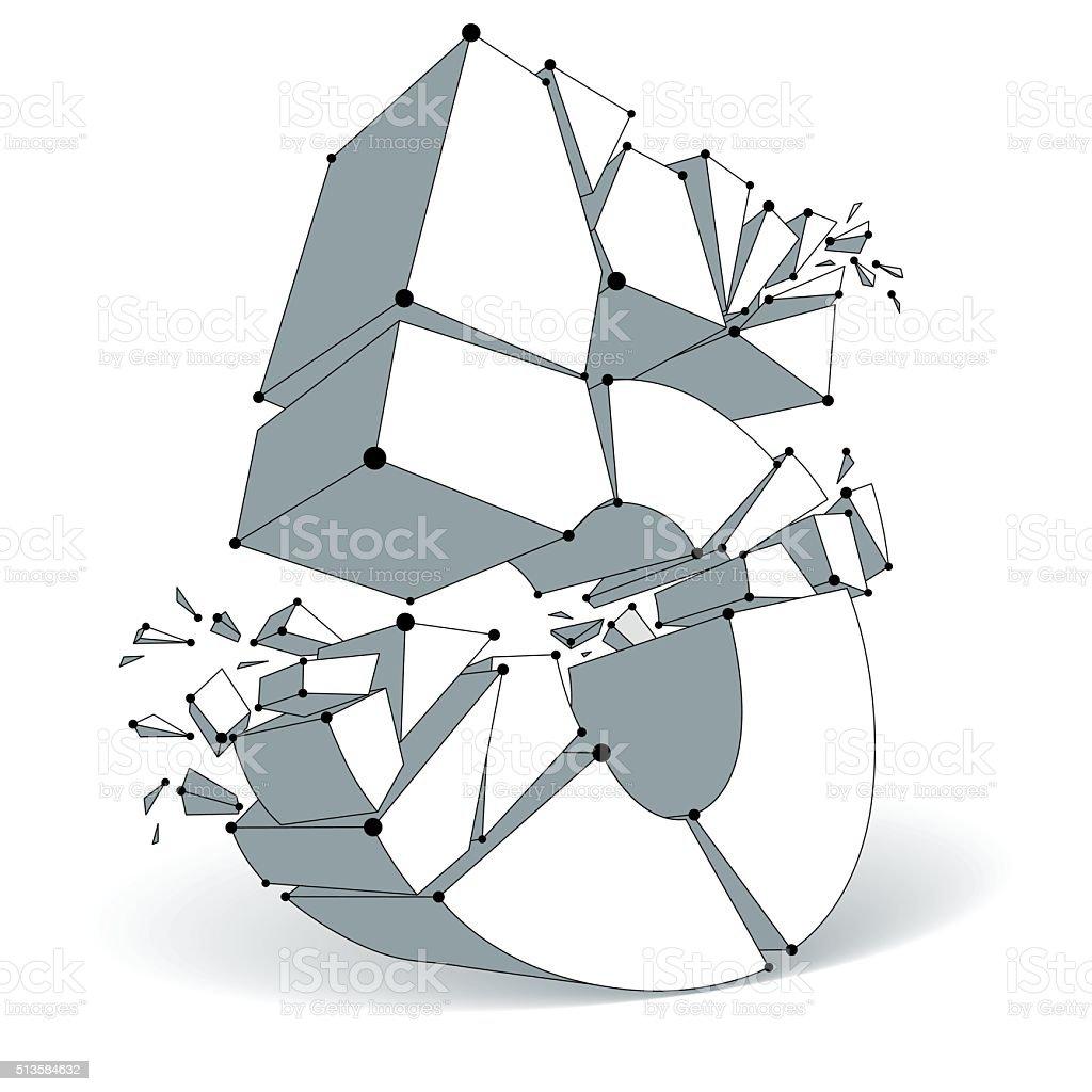 Vector dimensional wireframe number 5, monochrome demolished digit vector art illustration