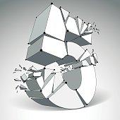 Vector dimensional wireframe number 5, monochrome demolished digit