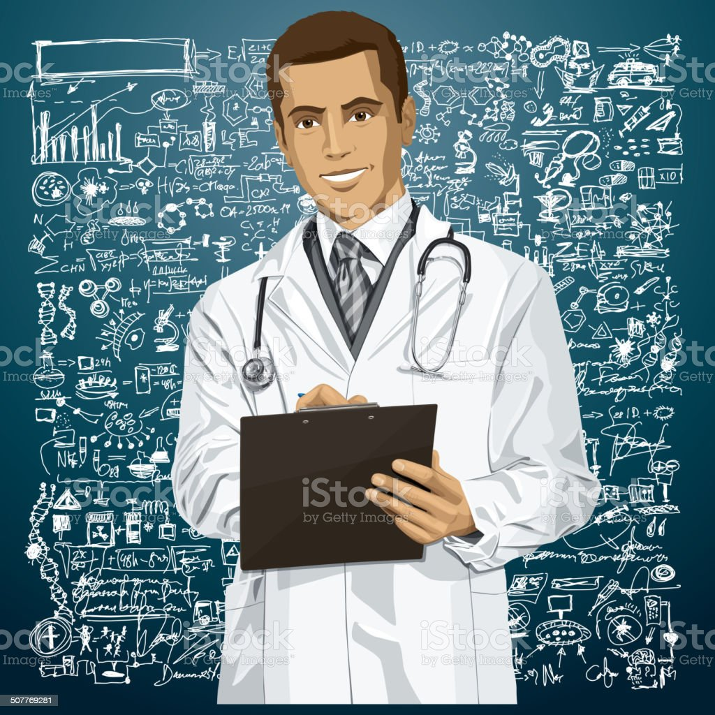 Vector Doctor Man With Clipboard royalty-free stock vector art