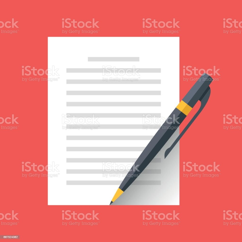 Vector document and pen icon. Singing document, filling form, business contract, application, claim concepts. Modern flat design vector illustration vector art illustration