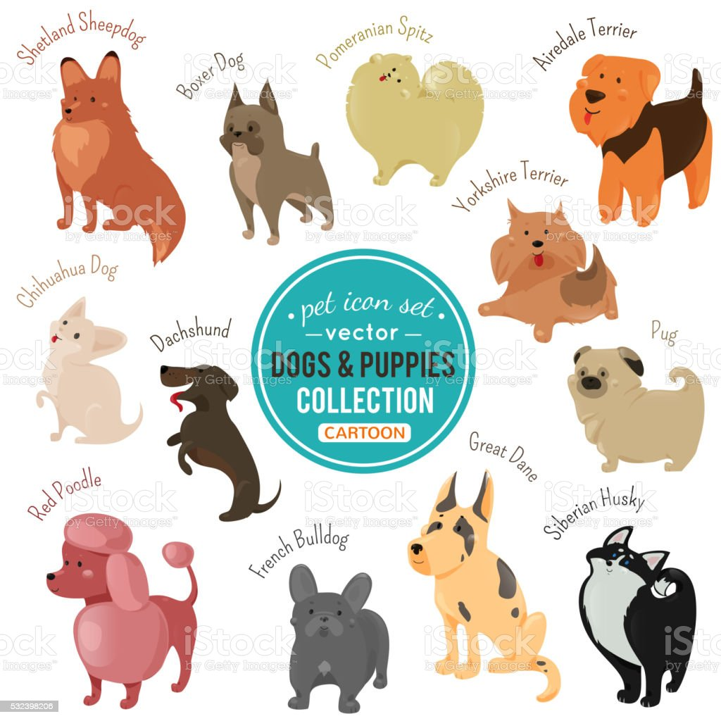 Vector dogs and puppies depicting different fur color breeds vector art illustration