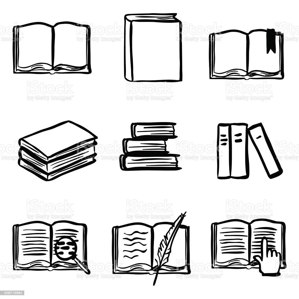 Vector Doodle Book Icon Set vector art illustration