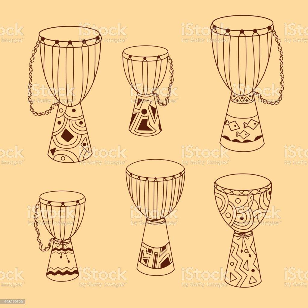 Vector doodle djembe drums set vector art illustration