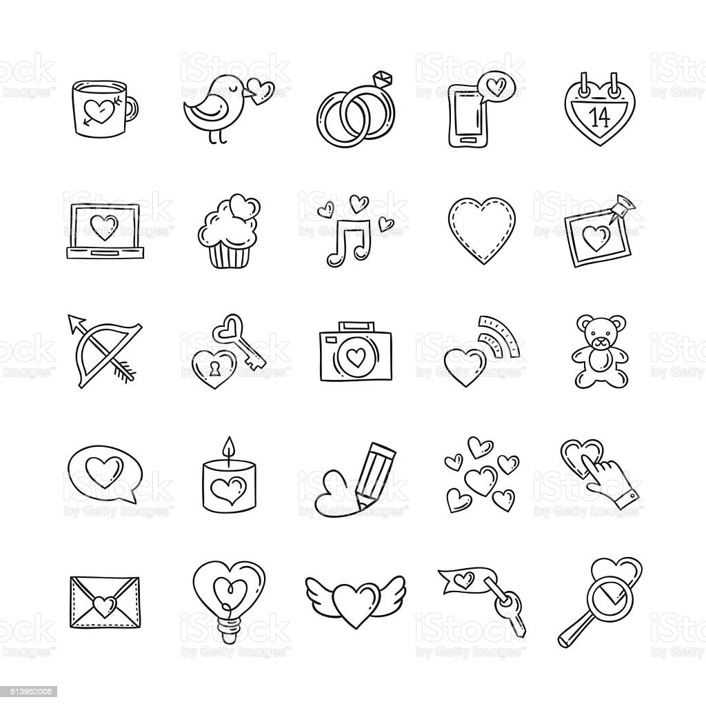 Vector doodle love icons and symbols. Heart, rings, gifts vector art illustration