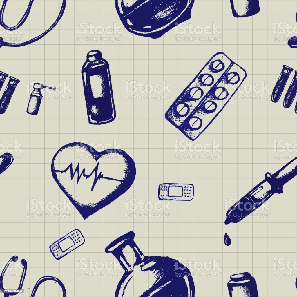 Vector doodle seamless illustration. Medicine icons vector art illustration