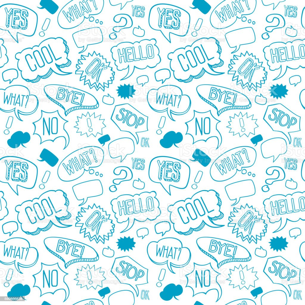 Vector doodle seamless pattern with speech bubbles vector art illustration