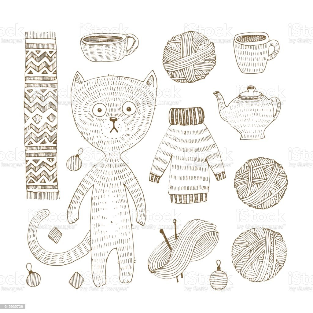 Vector doodle set of cat, sweater, scarf, ball, clew, cup, teapot and knitting needle. Winter accessories with fun cat vector art illustration