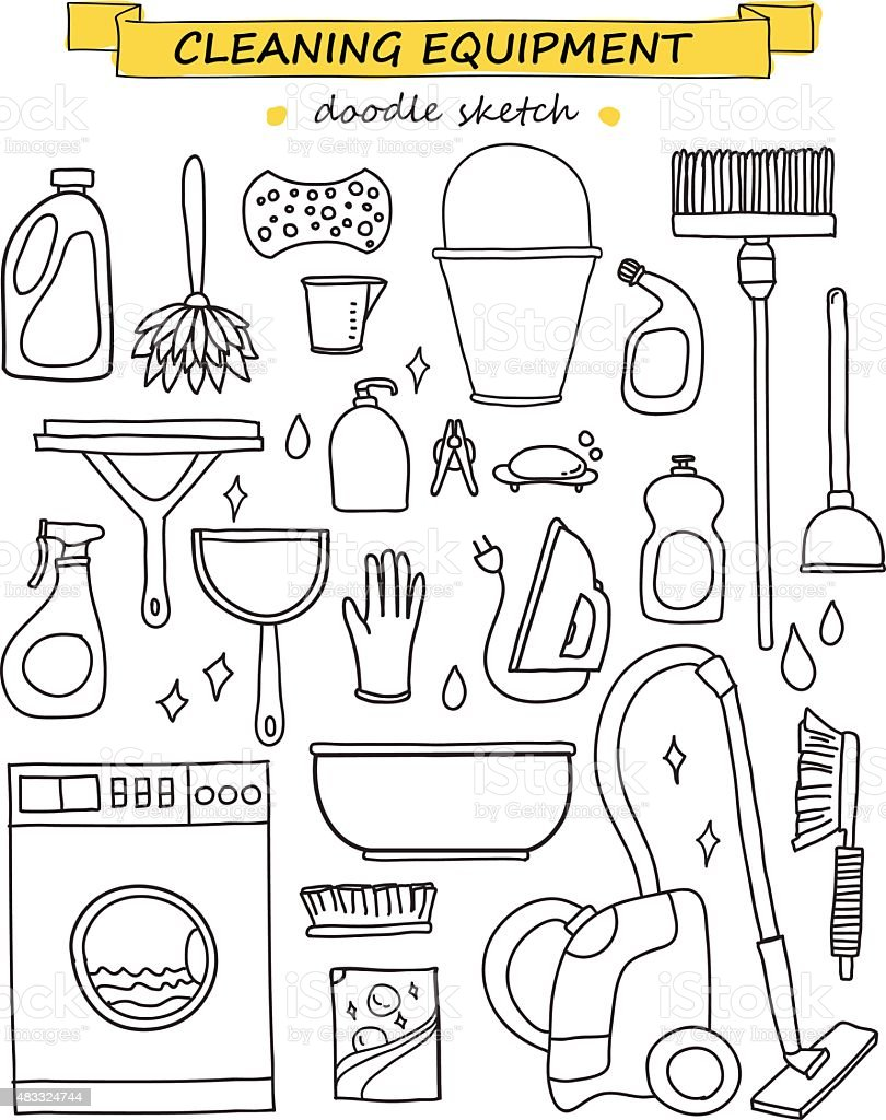 Vector doodle set of cleaning tools. vector art illustration