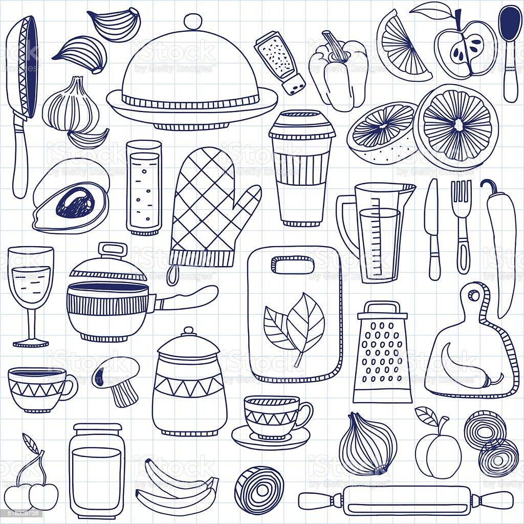 Vector Doodle Set Of Kitchenware Items Royalty Free Stock Vector Art
