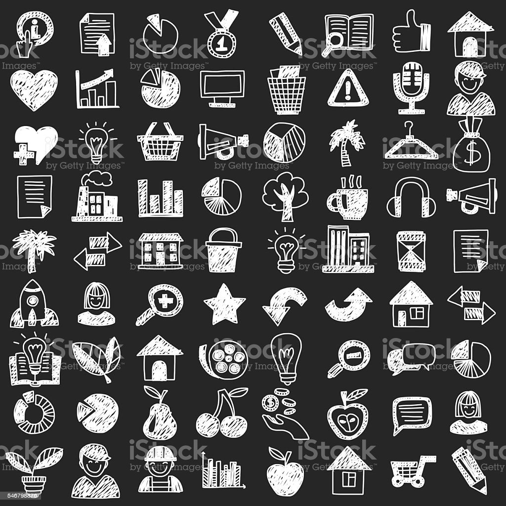 Vector doodle set with business signs, icons vector art illustration