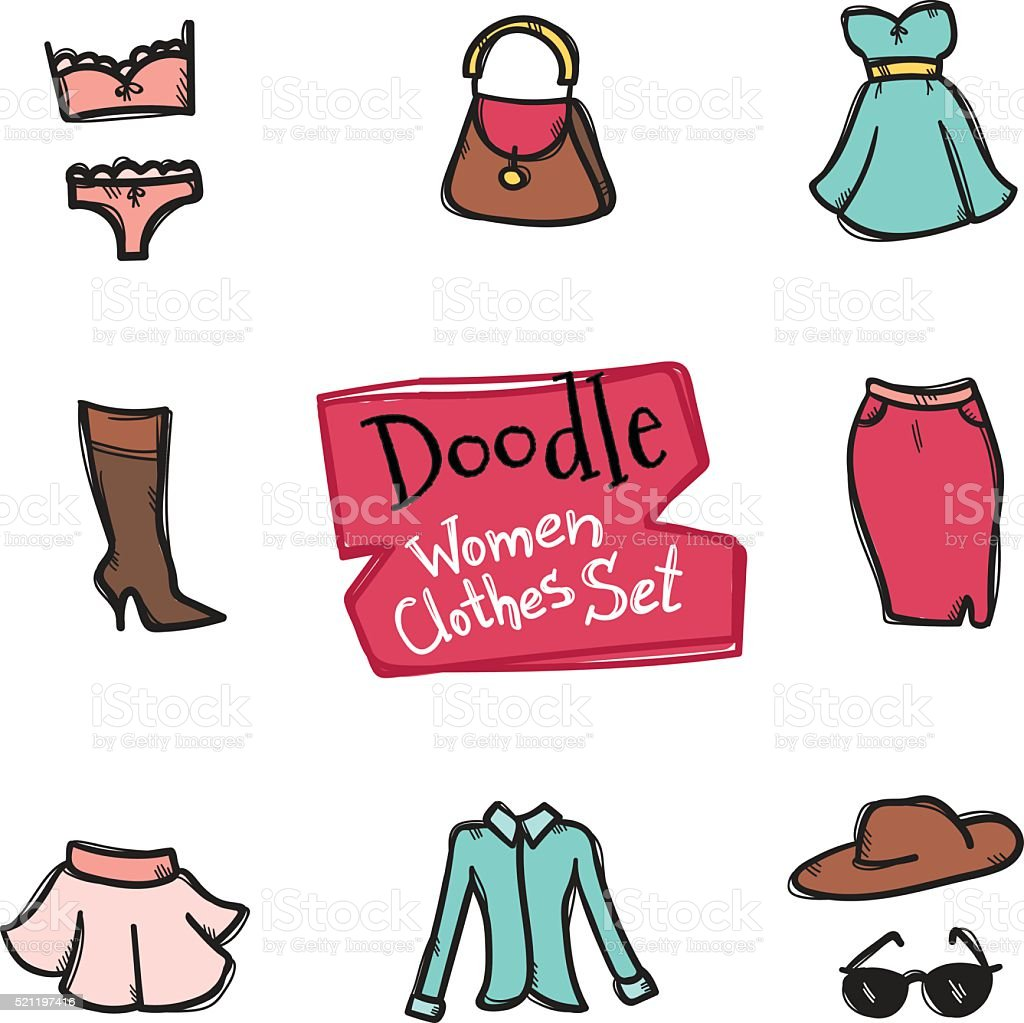 Vector doodle style women clothes icons set. Hand drawn collection vector art illustration