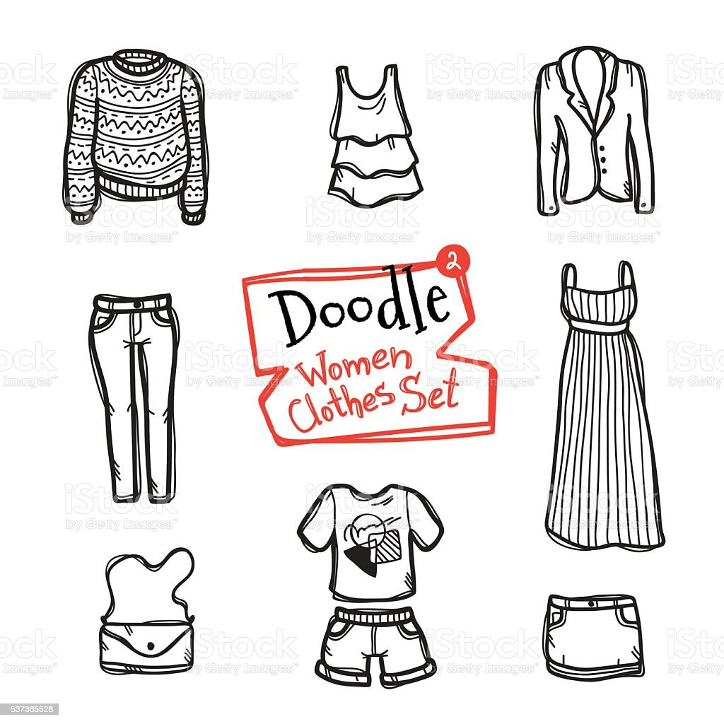 Vector doodle women clothes icons set. Hand drawn collection of vector art illustration