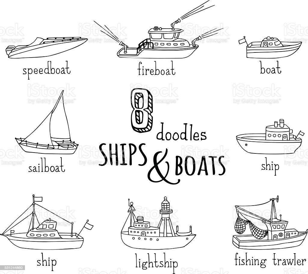 Vector doodles nautical vessel icons set. vector art illustration