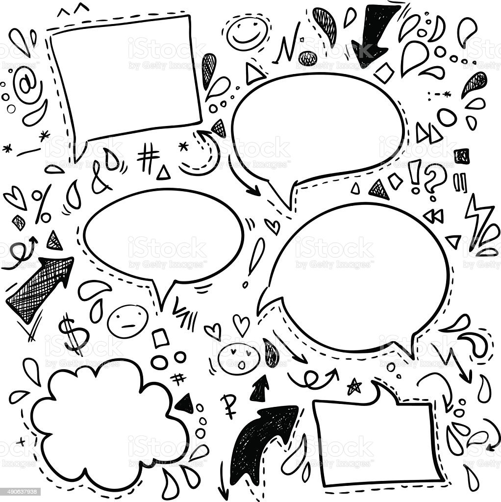 Vector Doodles - Speech Bubbles. Business, finance and success. vector art illustration