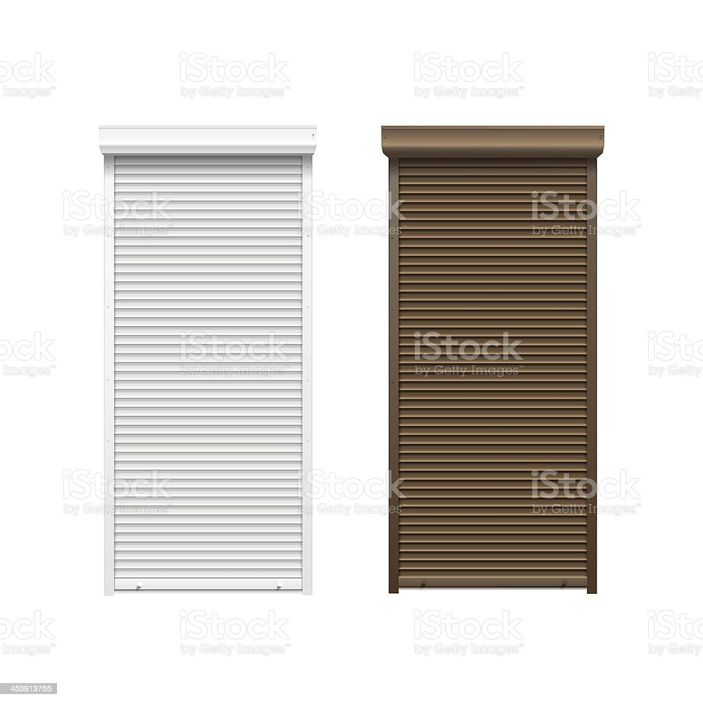 Vector Doors with Rolling Shutters vector art illustration