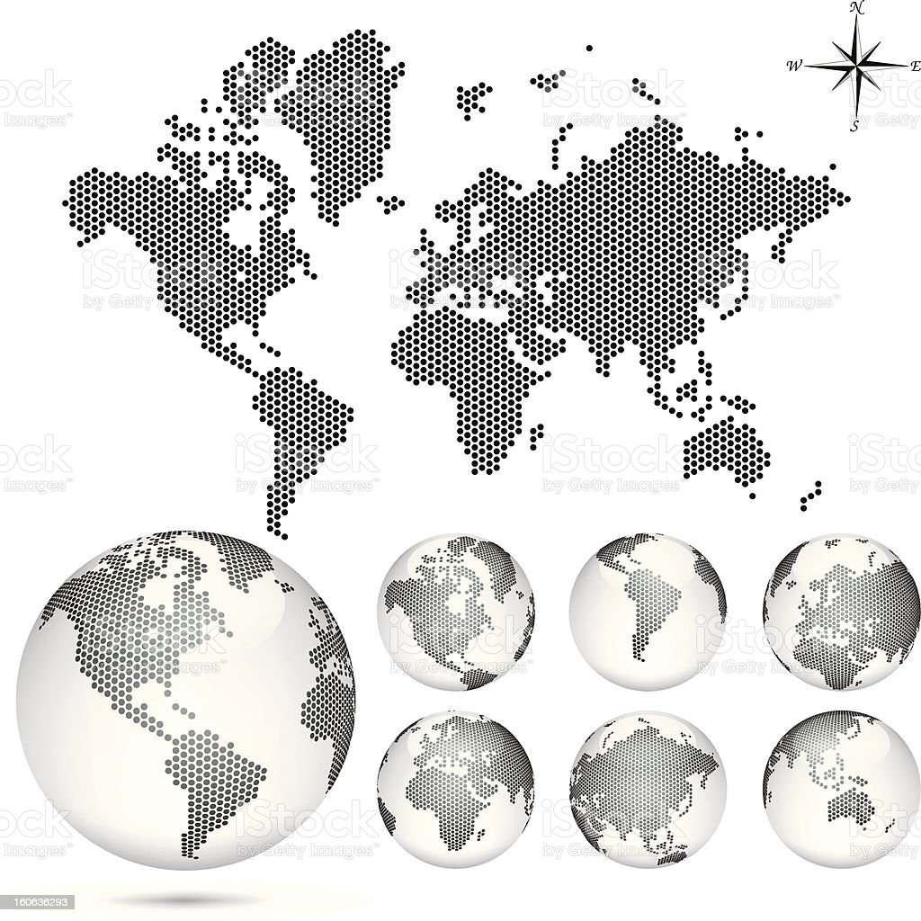 Vector dotted Map and Globe of the World stock photo