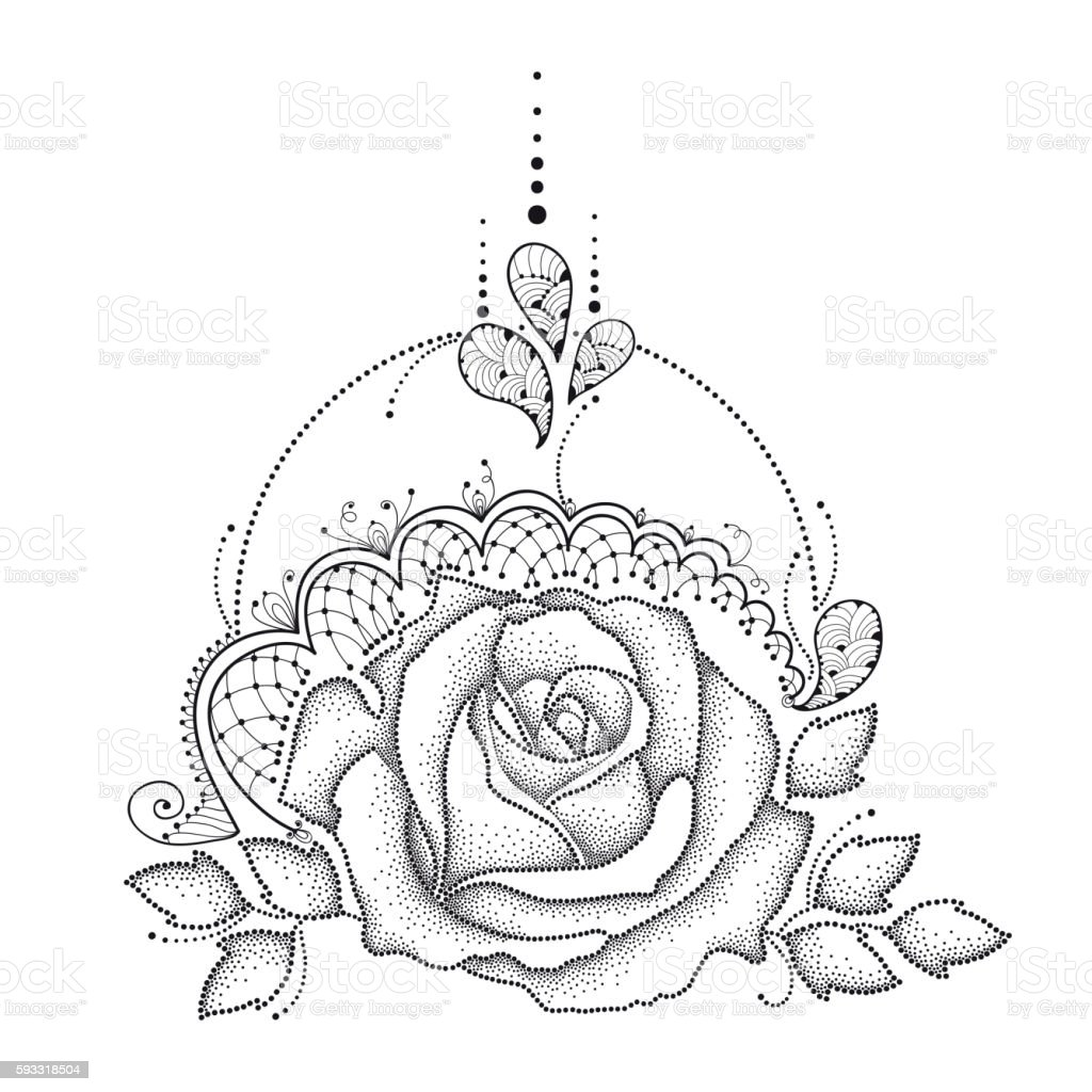 Vector dotted Rose flower, leaves, decorative lace and swirls isolated. vector art illustration