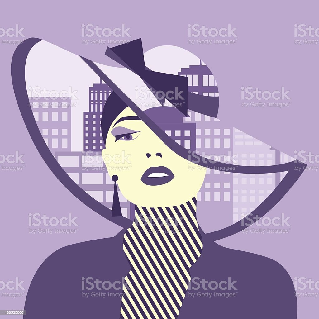 Vector double exposure illustration. Woman with city in her hat vector art illustration