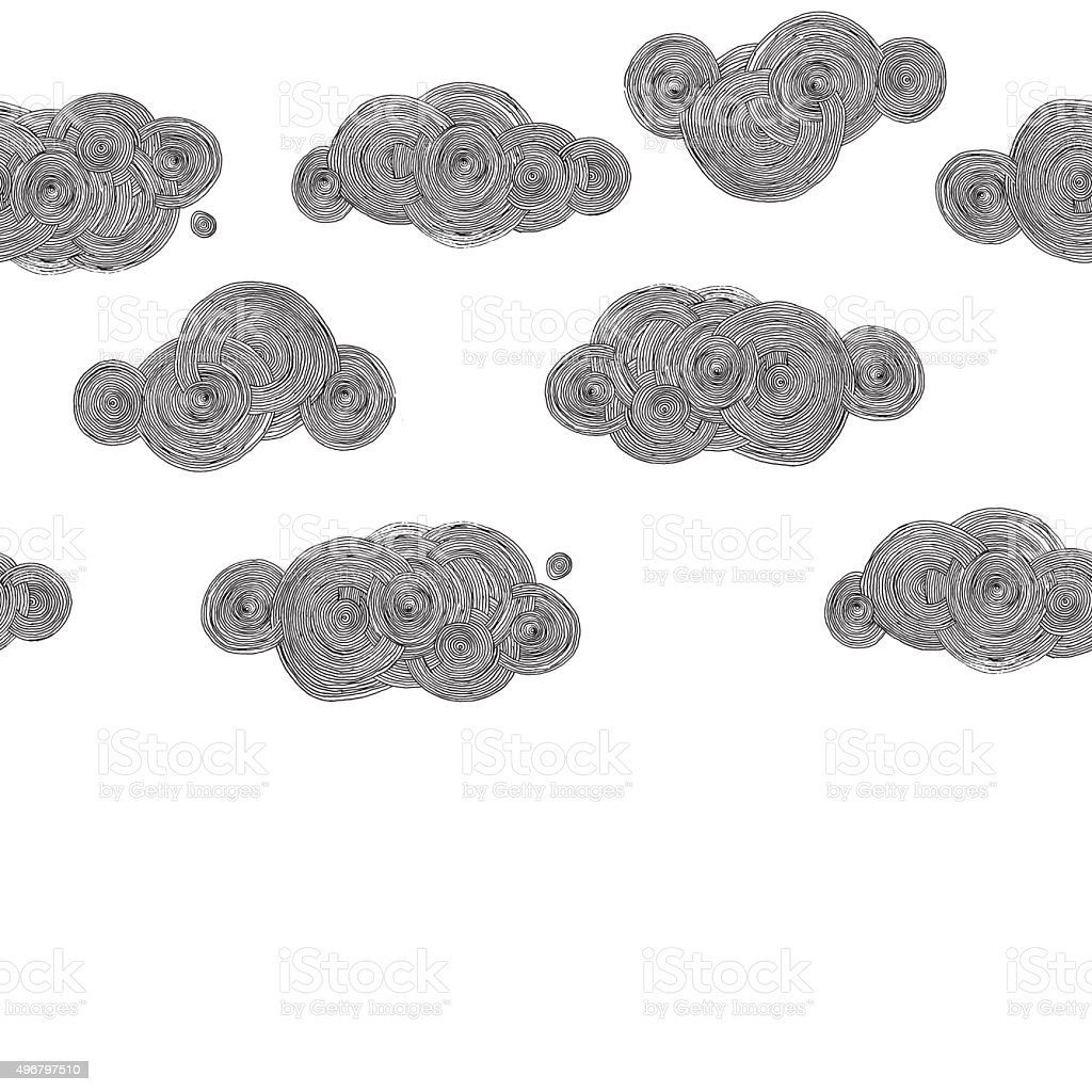 vector drawing clouds vector art illustration