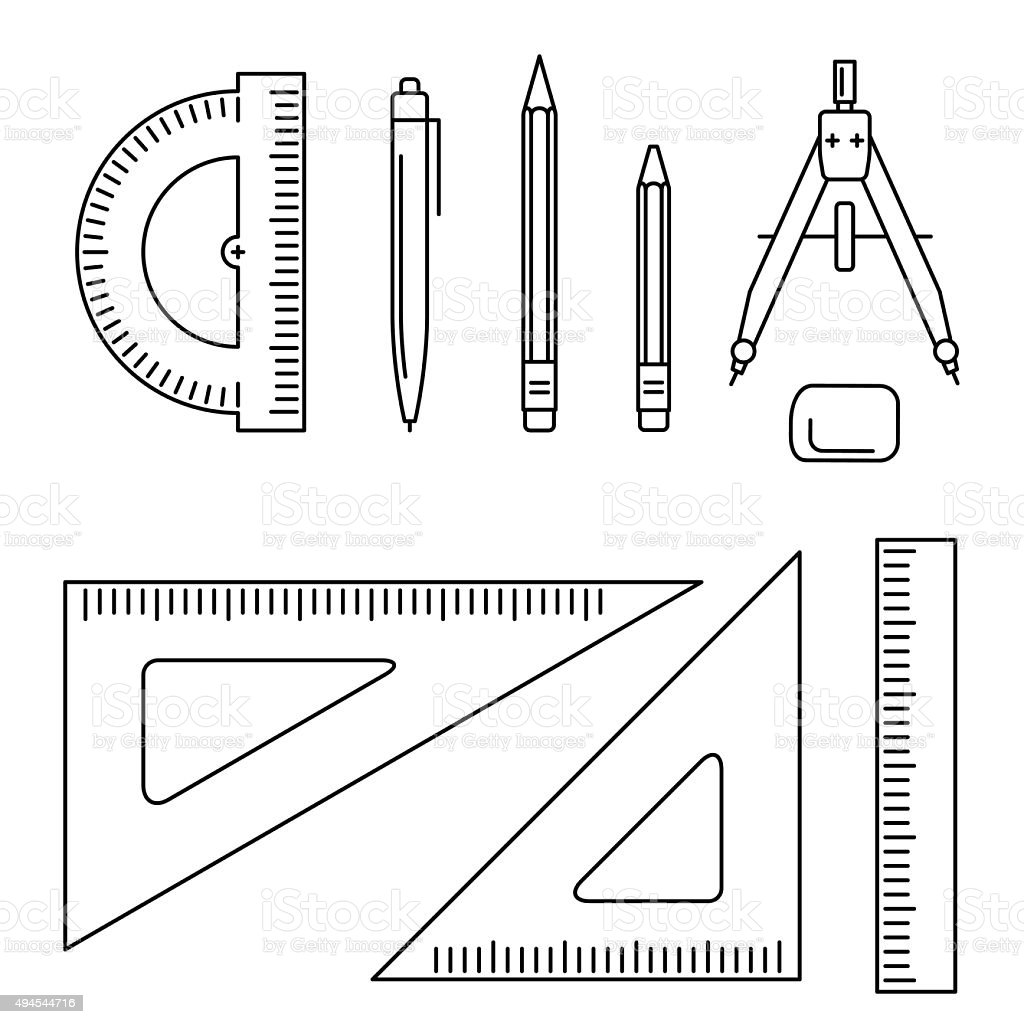 Vector drawing instrument. vector art illustration