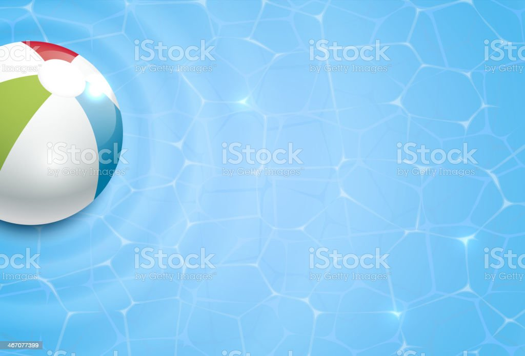 Vector drawing of a beach ball and pool background vector art illustration