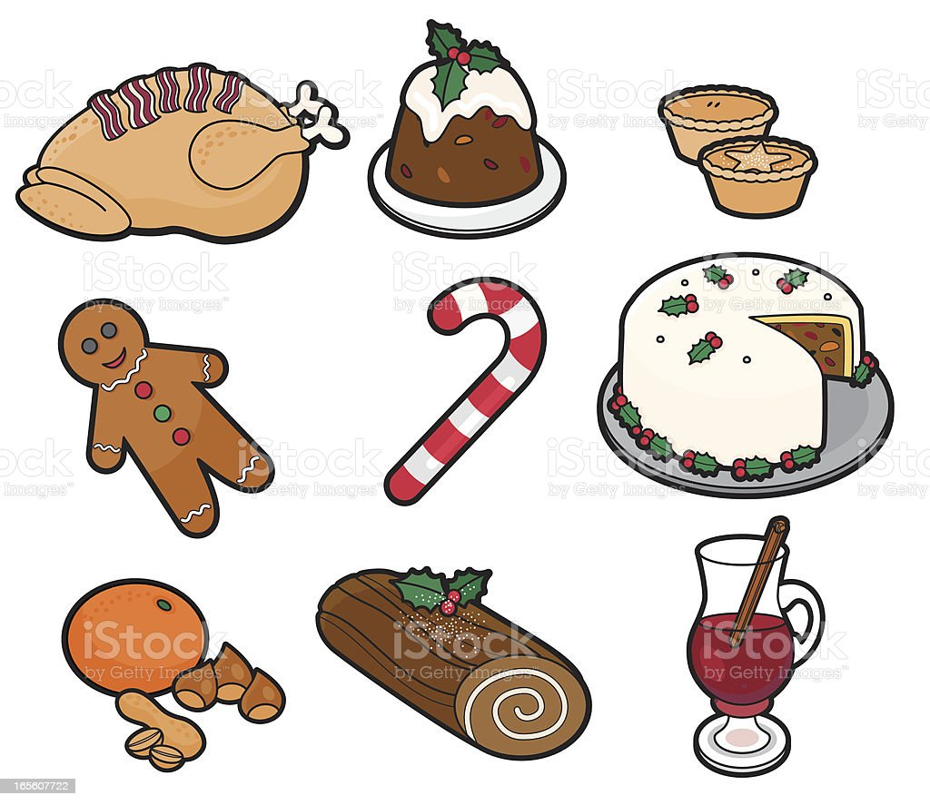 Vector drawing of Christmas foods and candy royalty-free stock vector art