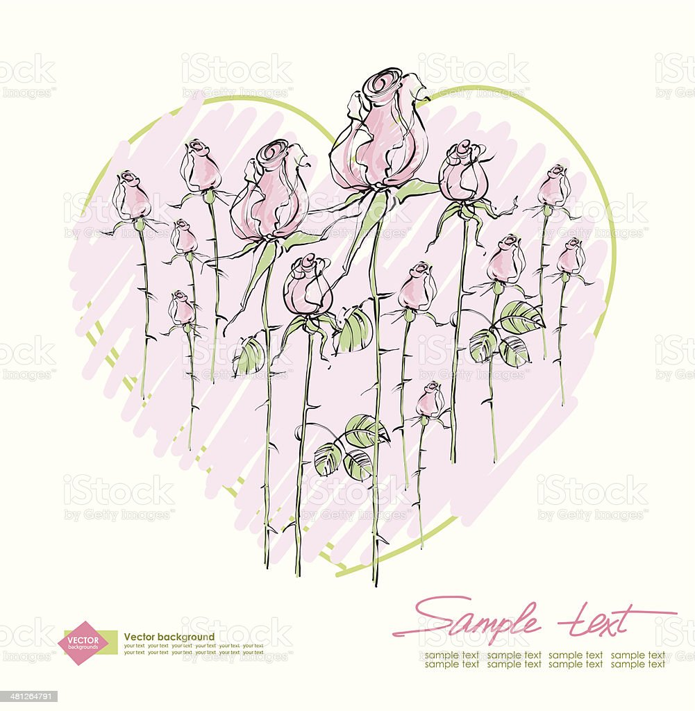 Vector drawing  pink roses on a background of hearts vector art illustration