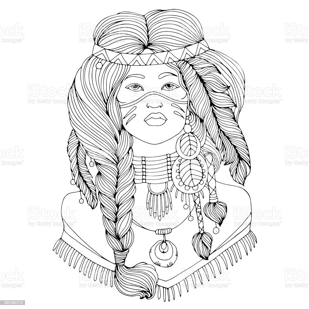 Vector drawing portrait of a beautiful young Native American girl vector art illustration