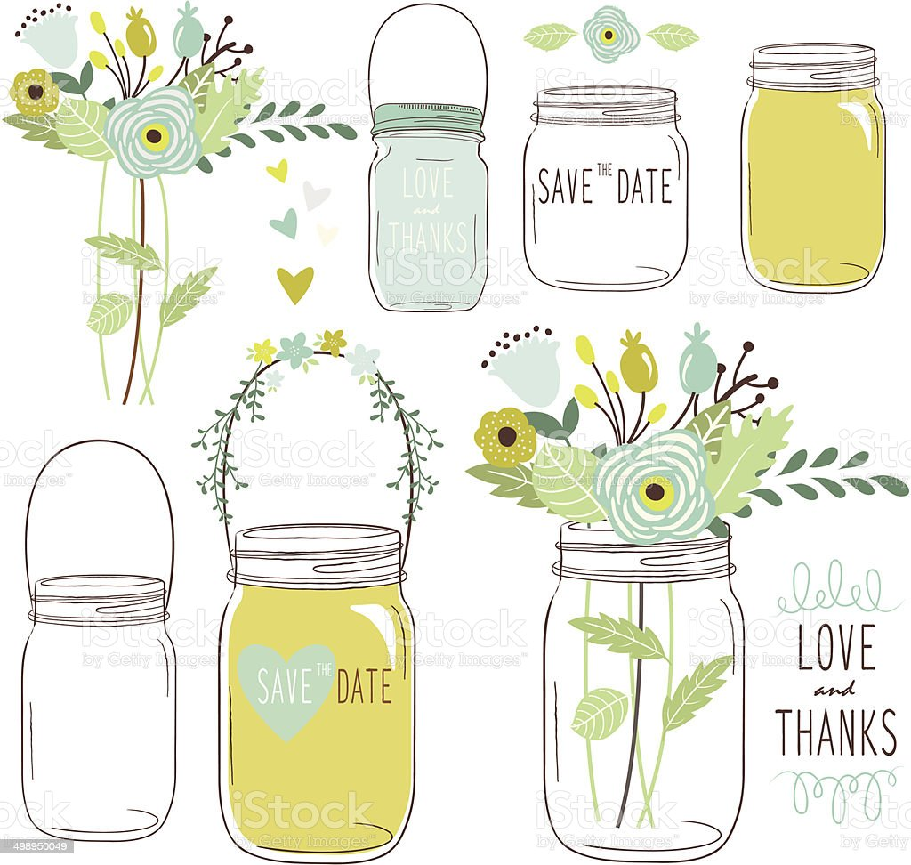 Vector drawings of wedding jars and flowers vector art illustration