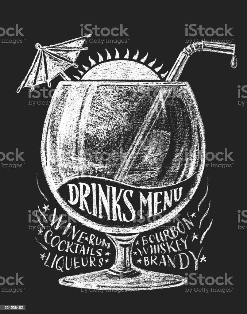 Vector drinks menu on blackboard vector art illustration