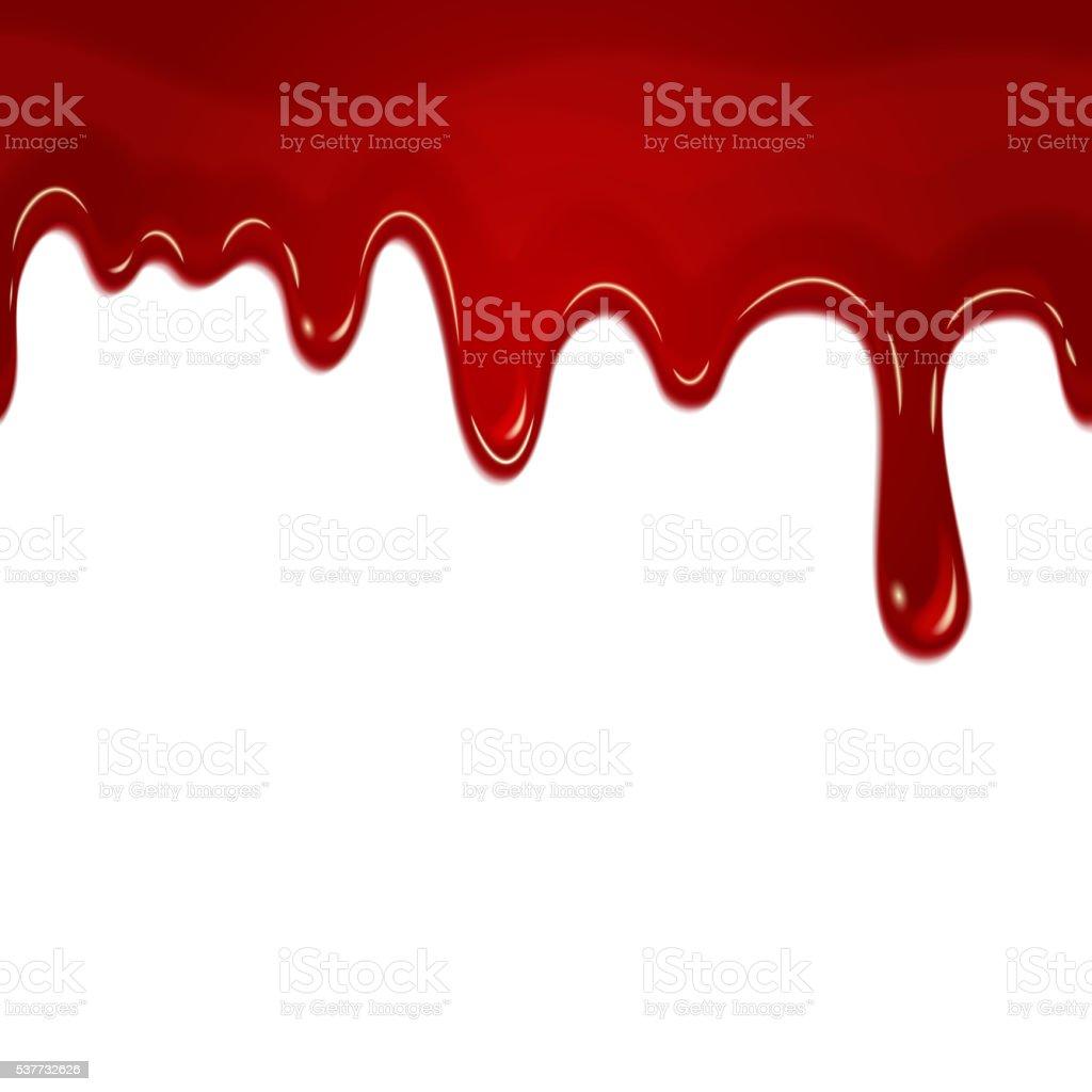 Vector dripping seamless blood vector art illustration