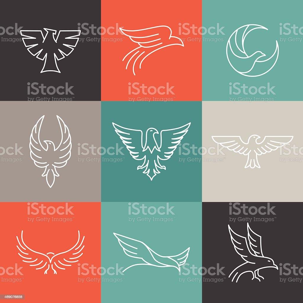 Vector eagle and falcon linear logos vector art illustration