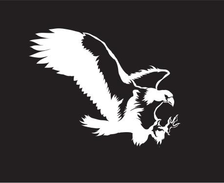 American Bald Eagle Tattoo Silhouettes Clip Art, Vector