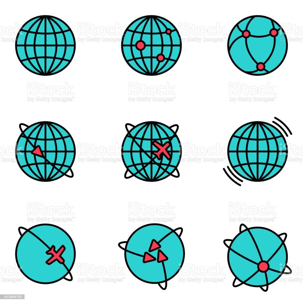 Vector Earth Global Communication icons set. vector art illustration